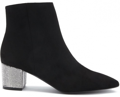 Forever21 Forever 21 Faux Suede Rhinestone Ankle Booties , Black Boot
