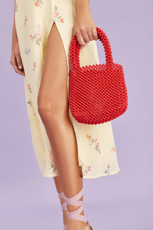 Forever21 Forever 21 Faux Pearl Bag , Red Tote