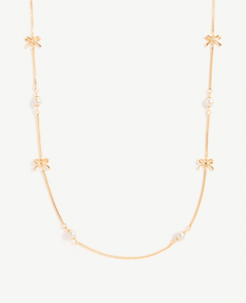 Ann Taylor Pearlized Bow Station Necklace