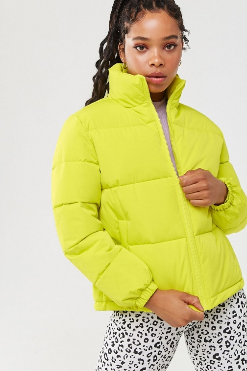 Forever21 Forever 21 Zip-Up , Lime Puffer Jacket