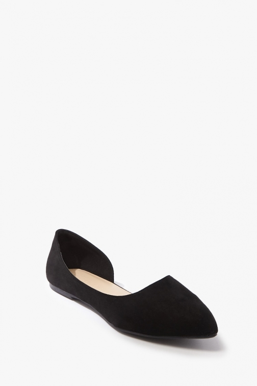 Forever21 Forever 21 Faux Suede Pointed Toe , Black Flats