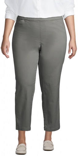 Lands' End Women's Plus Size Mid Rise Pull On Crop Pants - Lands' End - Green - 16W Chino
