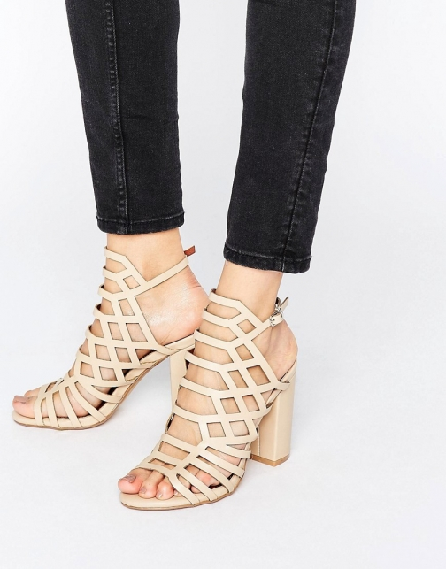 London Rebel Caged Block Heel Sandal