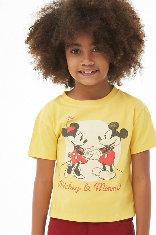 Forever21 Girls Forever 21 Girls Mickey & Minnie Graphic Tee (Kids) Gold/multi T-Shirt