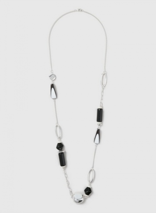 Dorothy Perkins Black And White Striped Resin Bead Necklace