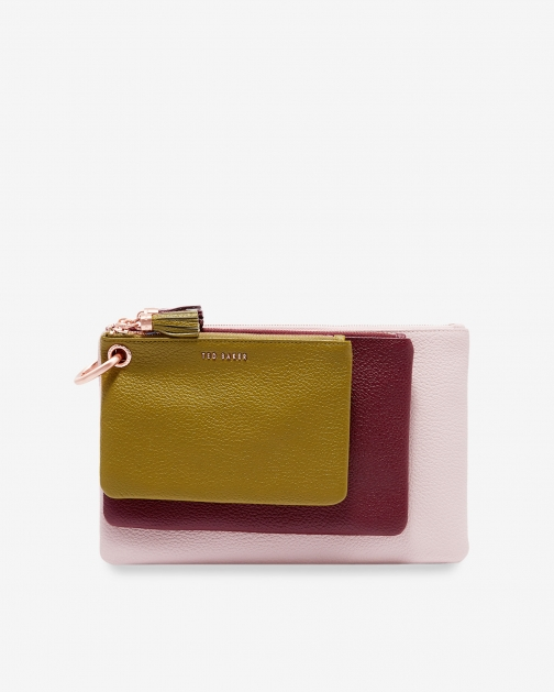 Ted Baker Colour Block Leather Triple Pouch
