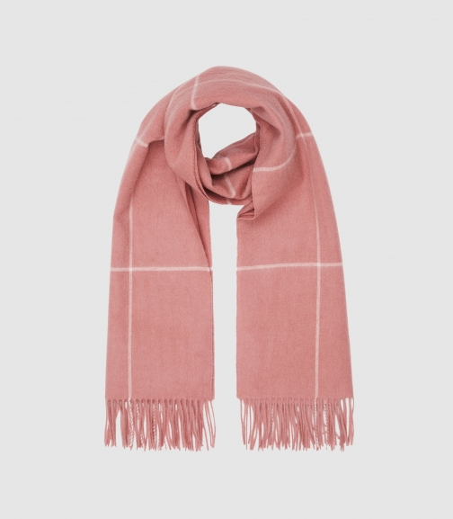Reiss Polly - Wool Cashmere Blend Oversized Pink, Womens Scarf