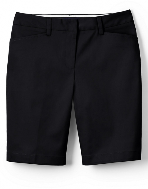 "Lands' End Women's Straight Fit Plain 10"" Chino - Lands' End - Black - 2 Short"