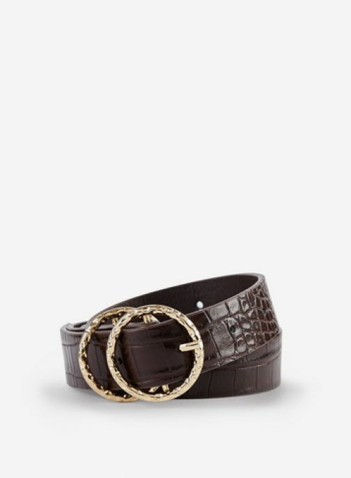 Dorothy Perkins Chocolate Hammered Double Circle Belt