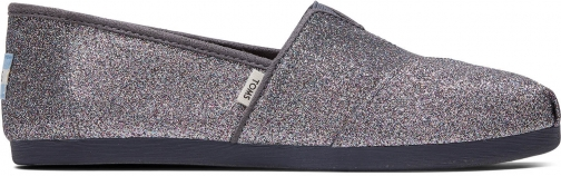 Toms Grey Iridescent Glitter Canvas Women's Classics Slip-On Shoes