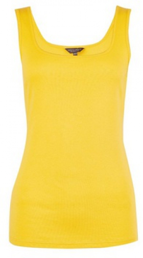 Dorothy Perkins Yellow Pique Trim Vest Top