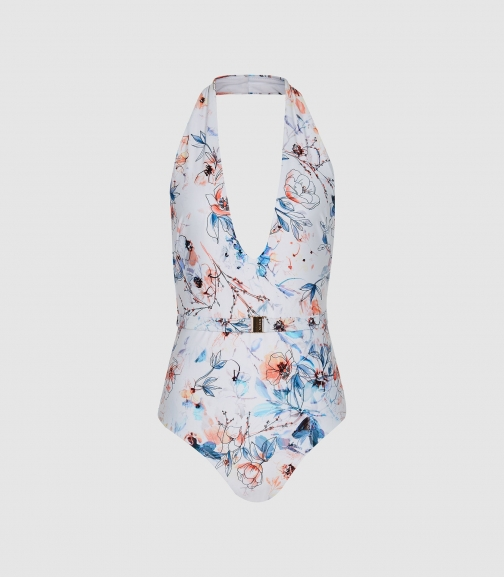 Reiss Estella - Floral Printed White Print, Womens, Size 6 Swimsuit