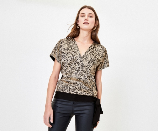 Oasis Animal Satin Wrap Top