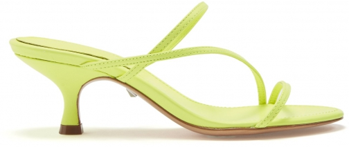 Schutz Shoes Evenise Sandal - 6 Neon Yellow Leather Sandals