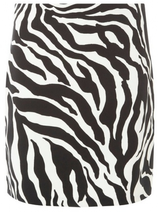 Dorothy Perkins Womens Black And White Zebra Print - Black, Black Mini Skirt