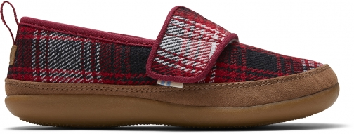 Toms Red Plaid Youth Inca Slippers