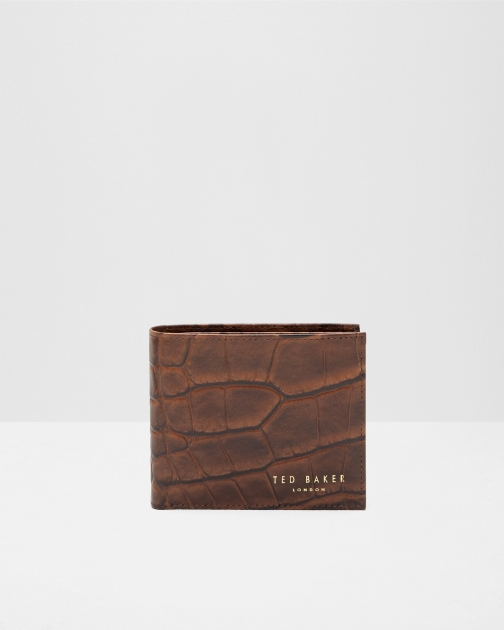 Ted Baker Croc Effect Leather Chocolate Wallet
