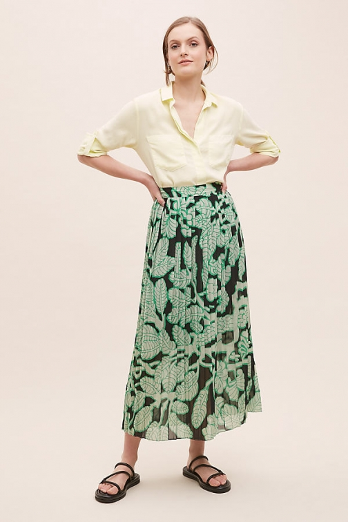 Anthropologie 5preview Dextra Leaf-Print Skirt