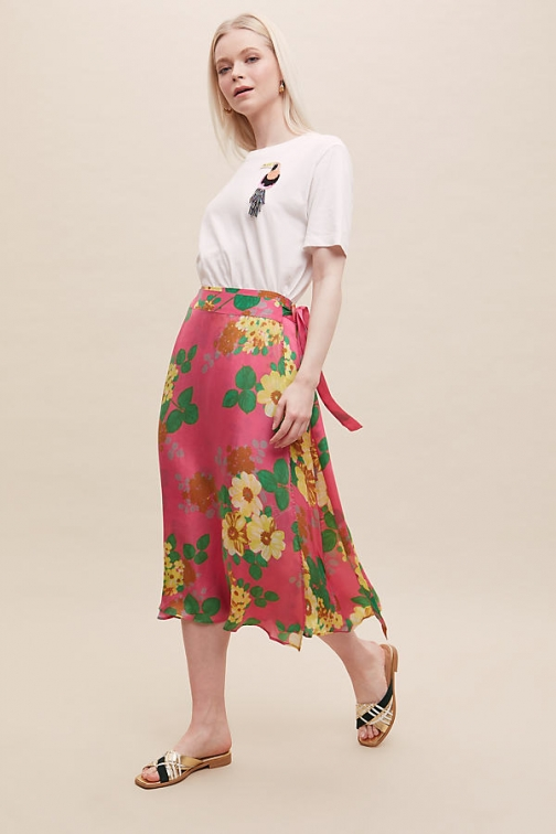 Anthropologie Bailey & Buetow Eve Floral-Print Wrap Skirt