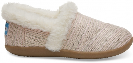 Toms Pink Metallic Woven Youth House - Size UK1 / US2 Slipper
