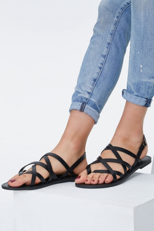 Forever21 Forever 21 Caged Faux Leather , Black Sandals