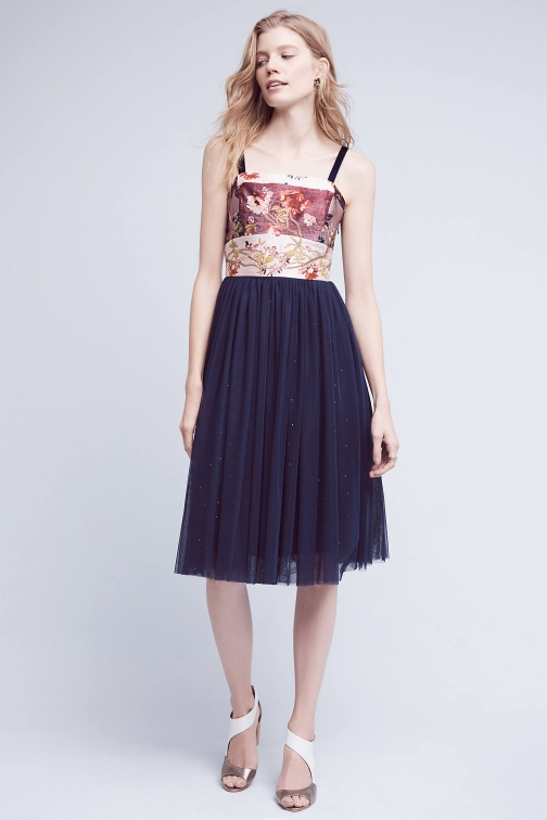 Anthropologie Crowned Crane Tulle , Navy Dress