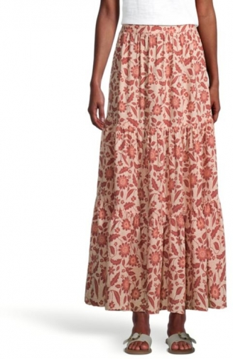 Loft Floral Tiered Pull On Midi Skirt