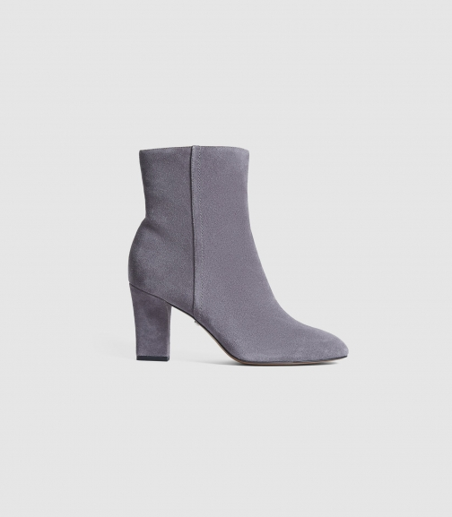 Reiss Ruby Suede - Suede Pale Grey, Womens, Size 3 Ankle Boot