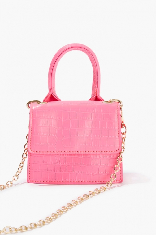 Forever21 Forever 21 Faux Croc Leather , Hot Pink Crossbody Bag