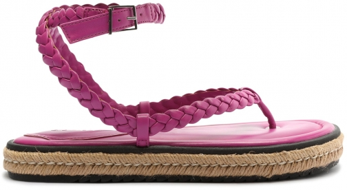 Schutz Shoes Mayna Leather And Jute - 5.5 Very Pink Leather & Jute Espadrille