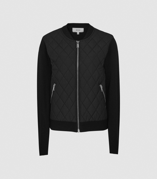 Reiss Ayla - Hybrid Zip Through Quilted Black, Womens, Size 4 Jumper