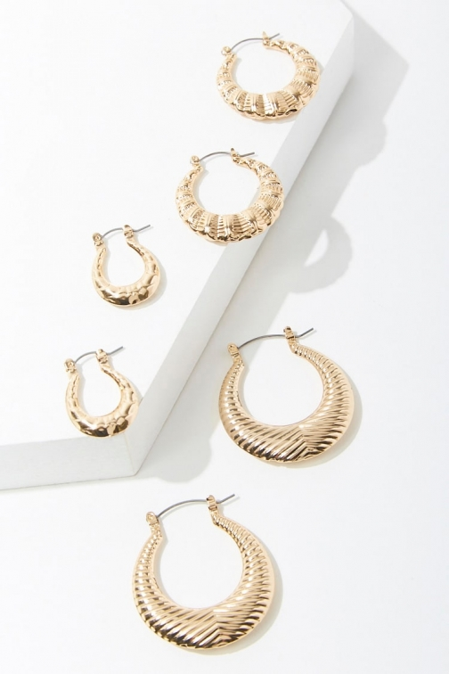 Forever21 Forever 21 Etched Hoop Earring Set , Gold Jewellery