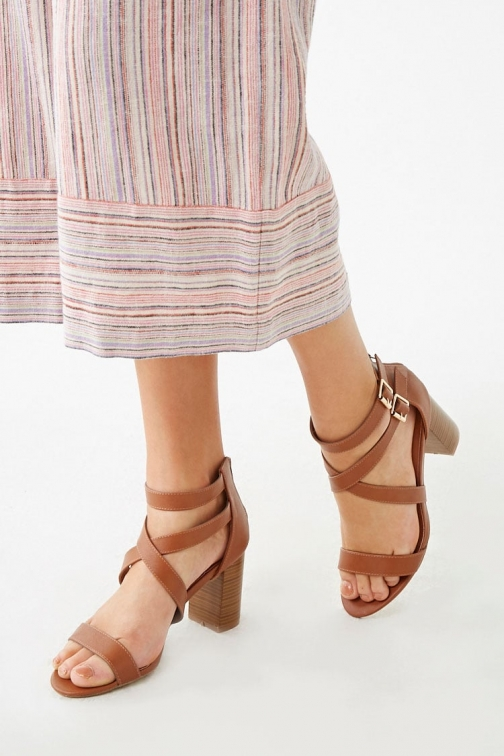 Forever21 Forever 21 Faux Leather Strappy Heels , Tan Shoes