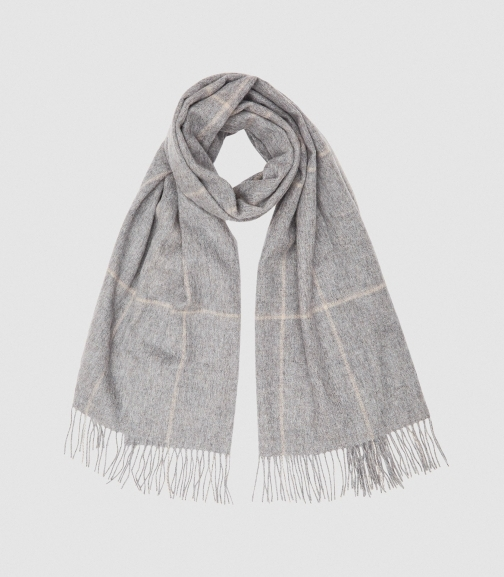 Reiss Polly - Wool Cashmere Blend Oversized Grey, Womens Scarf