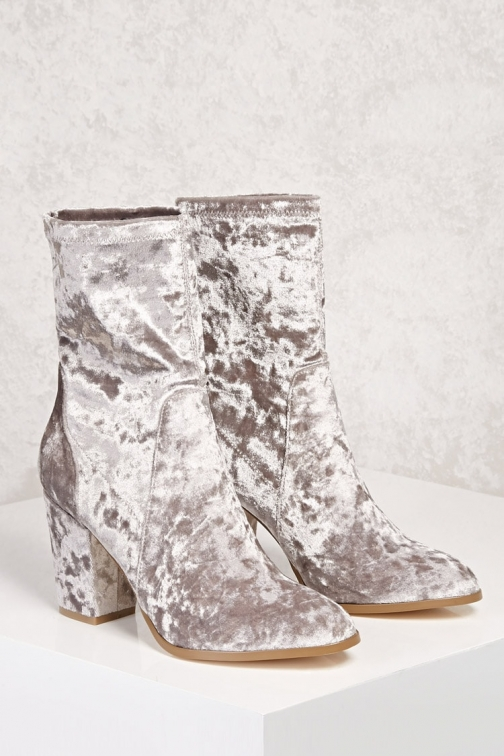 Forever21 Forever 21 Crushed Velvet Sock , Grey Boot