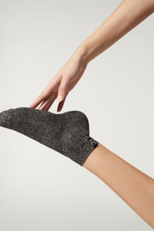 Calzedonia Active Sport Ankle Woman Grey Size TU Sock