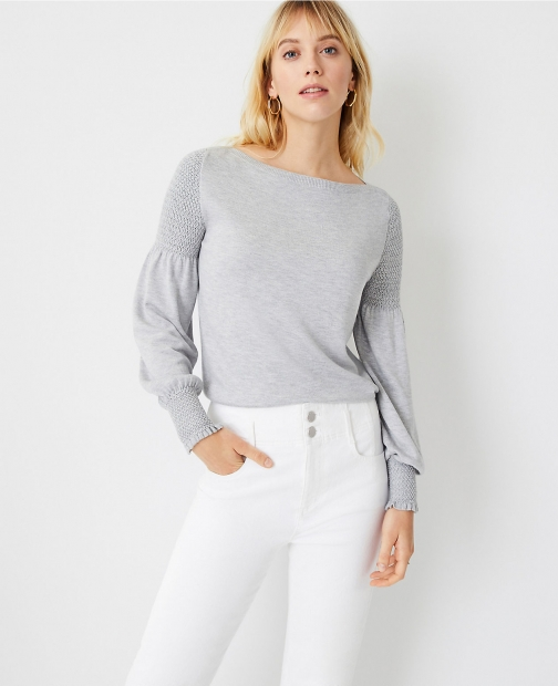 Ann Taylor Petite Smocked Shoulder Sweater Sweatshirt