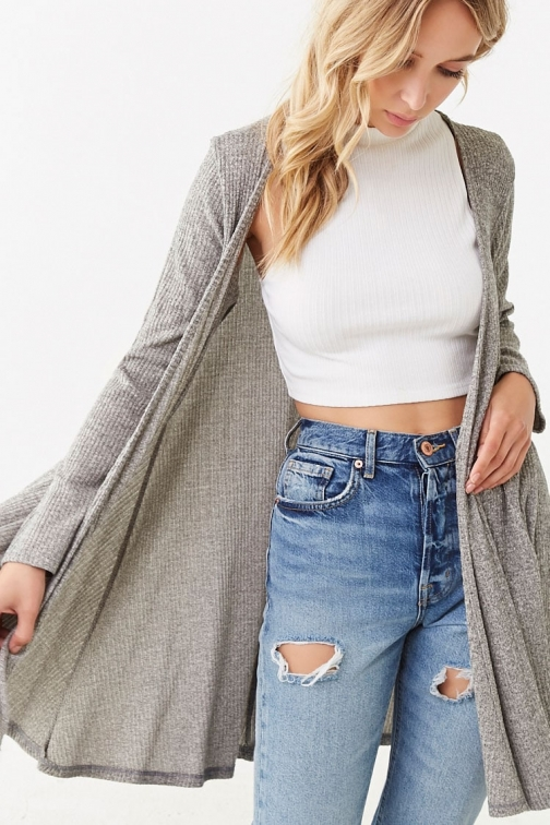 Forever21 Forever 21 Open-Front Longline , Heather Grey Cardigan