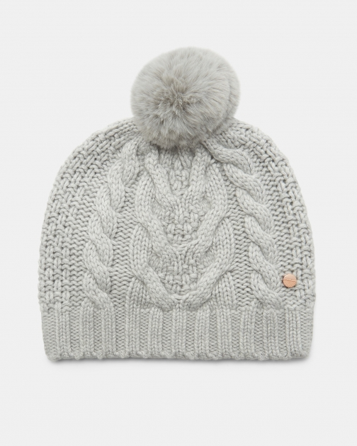 Ted Baker Cable Knit Wool Pom Hat