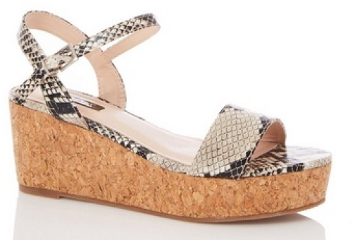 Quiz Multi Colour Snake Print Cork Wedges Wedge Sandal