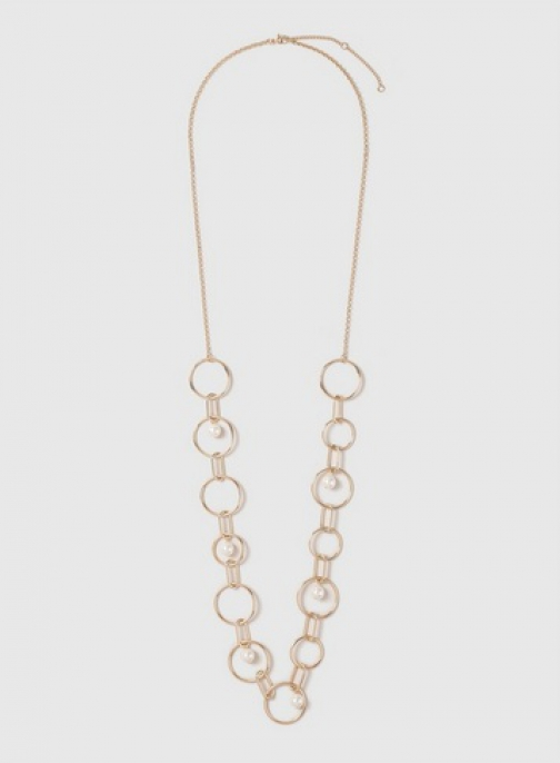 Dorothy Perkins Gold Mixed Chain And Pearl Look Long Necklace