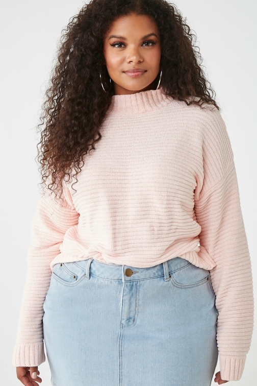 Forever21 Plus Forever 21 Plus Size Ribbed Chenille Sweater , Light Pink Sweatshirt