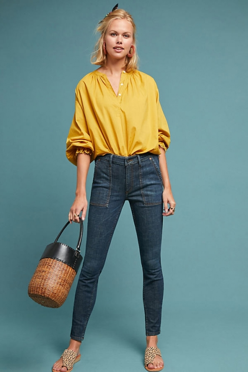 Anthropologie Pilcro High-Rise Skinny Utility - Blue, Size Jeans