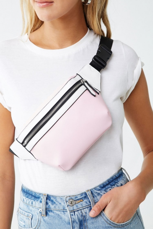 Forever21 Forever 21 Faux Leather Contrast , Pink/white Fanny Pack