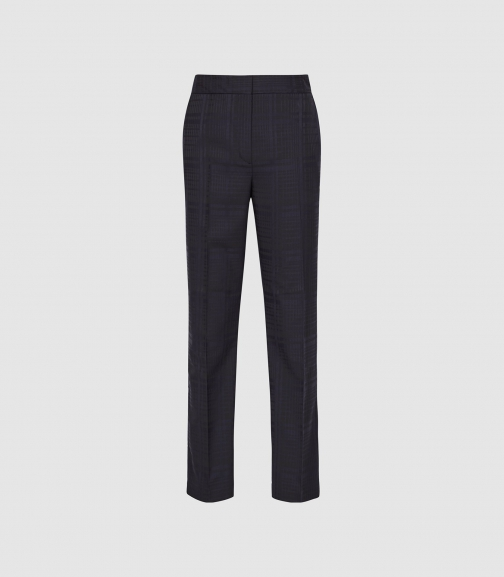 Reiss Margot - Checked Navy, Womens, Size 4 Tapered Trouser