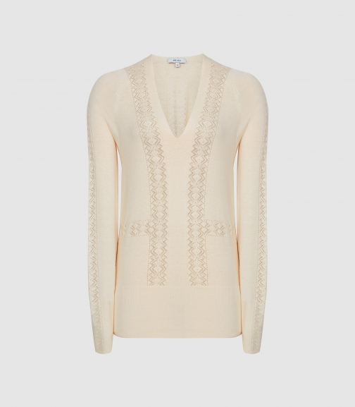 Reiss Inari - Pointelle Detailed Off White, Womens, Size S Jumper