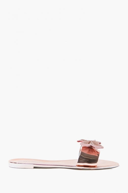 Forever21 Forever 21 Rhinestone Bow , Rose Gold Sandals