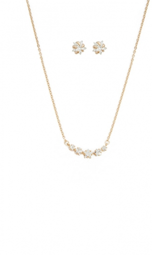 Forever21 Forever 21 Rhinestone Stud Earrings & Necklace Set , Gold/clear Jewellery