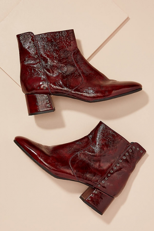 Kanna Patent-Leather Eyelet Ankle Boot