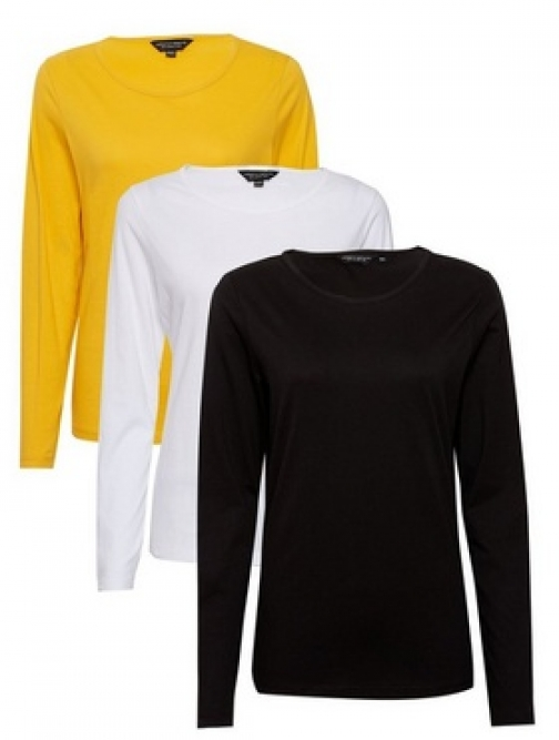 Dorothy Perkins 3 Pack Black, White And Ochre Long Sleeve Crew Neck Cotton Top